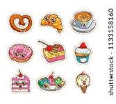 coffee  cake  ice cream and... | Shutterstock .eps vector #1133158160