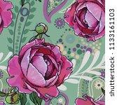 seamless trend pattern   peony... | Shutterstock .eps vector #1133161103