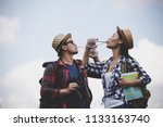 asian young couple travelers to ... | Shutterstock . vector #1133163740
