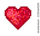 pixel red heart icon. vector... | Shutterstock .eps vector #1133164250