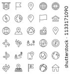 thin line vector icon set  ... | Shutterstock .eps vector #1133171090