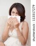woman sick with flue and fever | Shutterstock . vector #113317279