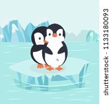 penguin hug in north pole arctic | Shutterstock .eps vector #1133180093