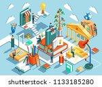 education isometric flat design....   Shutterstock . vector #1133185280