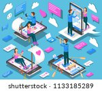 virtual relationships and... | Shutterstock . vector #1133185289