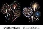 set of isolated fireworks... | Shutterstock . vector #1133185313