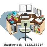 copywriter workplace.... | Shutterstock . vector #1133185319