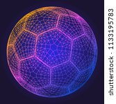 soccer ball colorful wireframe... | Shutterstock .eps vector #1133195783
