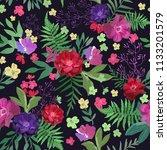 flowers seamless pattern hand... | Shutterstock . vector #1133201579
