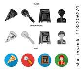 a pizza cutter  a slice  a menu ... | Shutterstock .eps vector #1133206274