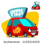 pizza delivery car. cartoon... | Shutterstock .eps vector #1133214410