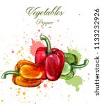 peppers watercolor vector.... | Shutterstock .eps vector #1133232926