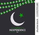 happy independence day pakistan. | Shutterstock .eps vector #1133255180