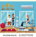 people in the gym | Shutterstock .eps vector #1133275250