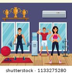 people in the gym | Shutterstock .eps vector #1133275280
