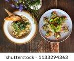 salmon tataki and  salmon pasta.... | Shutterstock . vector #1133294363
