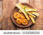 crispy fafda with sweet jalebi... | Shutterstock . vector #1133300210