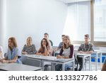group of a high school students ... | Shutterstock . vector #1133327786