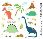 cute vector dinosaurs isolated... | Shutterstock .eps vector #1133338520