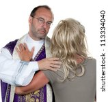 Small photo of a catholic priest in love with girlfriend. symbol photo celibacy