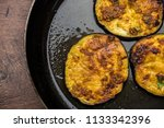 Small photo of Pan fry crispy baigan / eggplant / brinjal recipe from India. selective focus