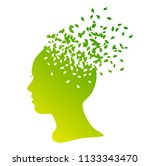 silhouette of a girl with... | Shutterstock .eps vector #1133343470