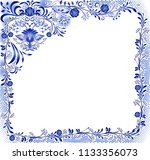 blue floral pattern with... | Shutterstock .eps vector #1133356073