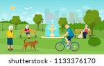 old woman is walking with a dog.... | Shutterstock .eps vector #1133376170