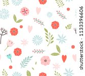 vector floral pattern in doodle ... | Shutterstock .eps vector #1133396606