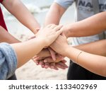 closeup united hands on the sea ... | Shutterstock . vector #1133402969