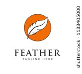 feather logo design template   Shutterstock .eps vector #1133405000