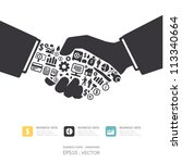 Elements are small icons Finance make in active businessman handshake shape.Vector illustration. concept | Shutterstock vector #113340664