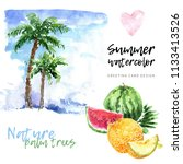 palm trees with watermelon and... | Shutterstock . vector #1133413526