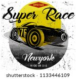 vintage race car for printing... | Shutterstock . vector #1133446109