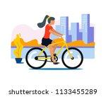 girl on the bike in city.... | Shutterstock .eps vector #1133455289