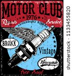 motorcycle poster t shirt... | Shutterstock . vector #1133455820