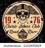 motorcycle poster skull t shirt ... | Shutterstock . vector #1133455829