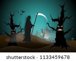 paper art of grim reaper and...   Shutterstock .eps vector #1133459678