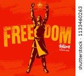 broken handcuff freedom concept.... | Shutterstock .eps vector #1133460263