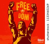 broken handcuff freedom concept.... | Shutterstock .eps vector #1133460269