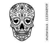 sugar skull isolated on white...   Shutterstock .eps vector #1133468939