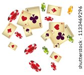 casino playing cards and chips... | Shutterstock .eps vector #1133469296