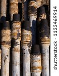 oil drill pipe. rusty drill... | Shutterstock . vector #1133469914