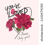 love slogan with blossom pink... | Shutterstock .eps vector #1133479250