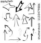 black arrow sets  different... | Shutterstock . vector #1133479886