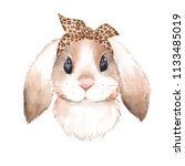 Stock photo bunny wearing bandana watercolor illustration isolated on white background 1133485019