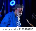 Small photo of Cracow, Poland - July 12, 2018: Icon of world jazz - Pharoah Sanders the Icon Quartetet live on stage of Kijow.Centre at the Summer Jazz Festival in Krakow. Poland