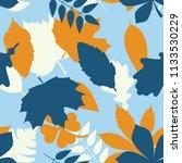 seamless blue and orange tree... | Shutterstock .eps vector #1133530229