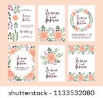 set of card with pink wild... | Shutterstock .eps vector #1133532080