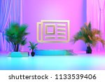 isolated gold icon with plants... | Shutterstock . vector #1133539406